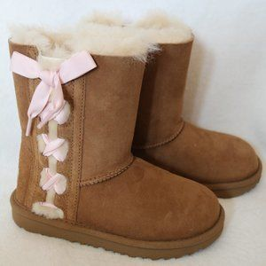UGG GIRL'S PALA SUEDE RIBBON BOOTS NEW CHESTNUT